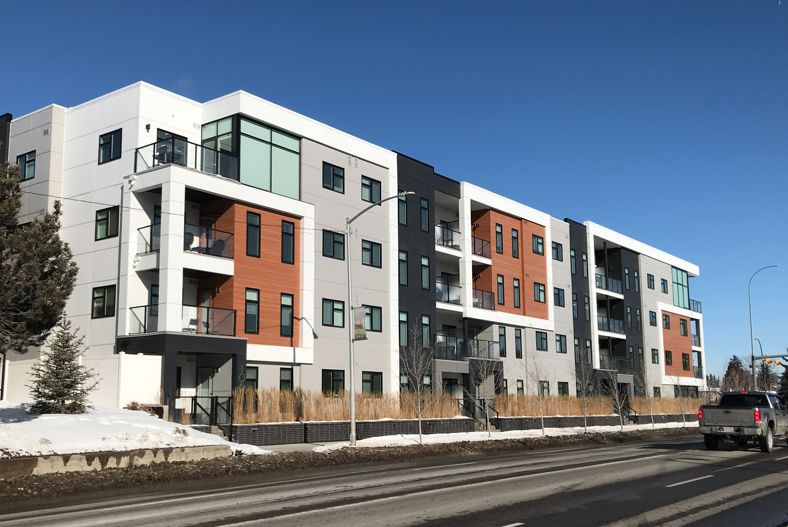 New infill condo on 17th Ave SW is creeping west from Crowchild to Sarcee Trail. However, this is not new as there are several residential buildings taller than four storeys from the 70s and 80s.