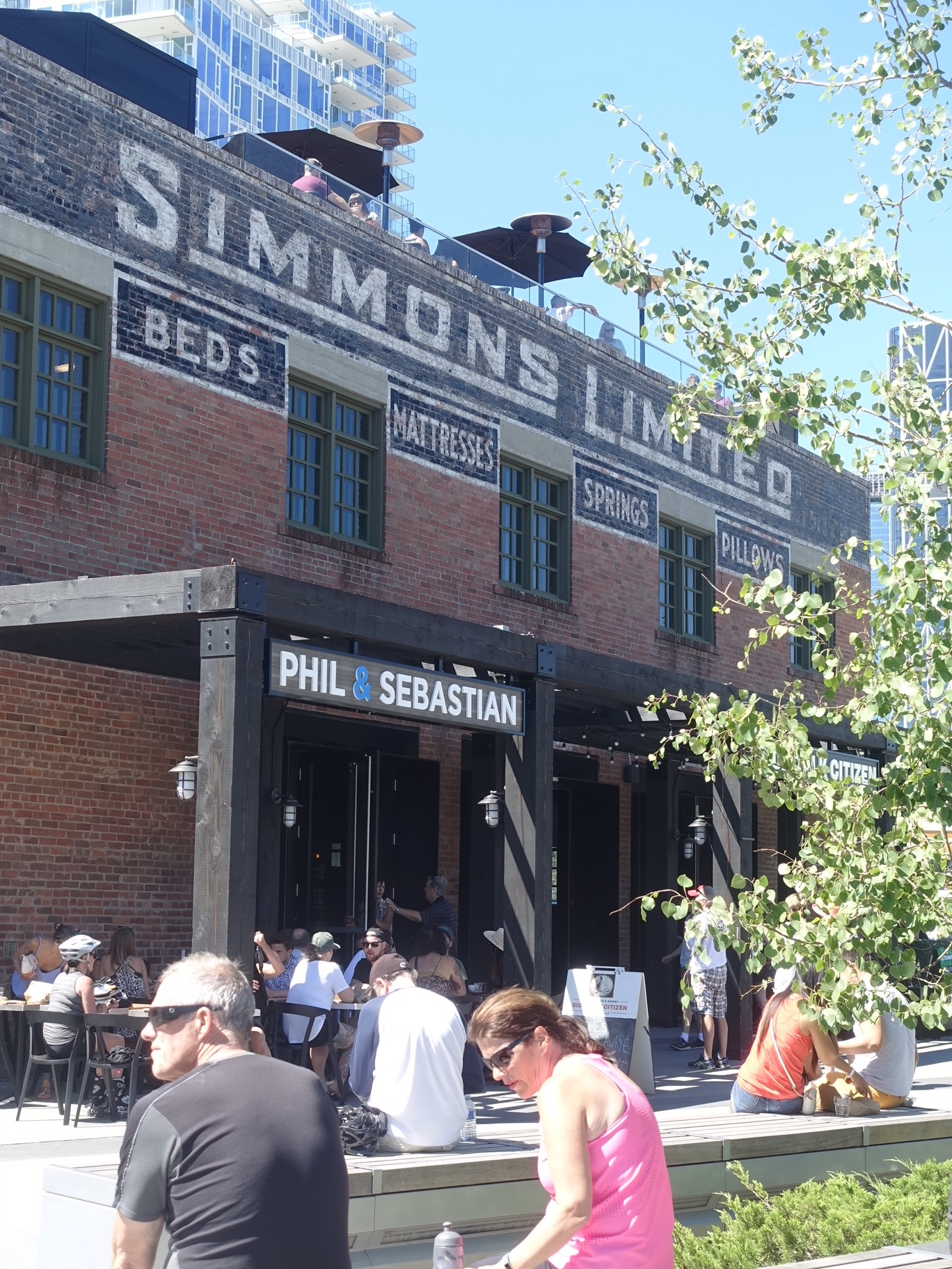 Simmons building is a popular meeting spot on the weekends as it is right on the Riverwalk which is part of the Bow River pathway system.
