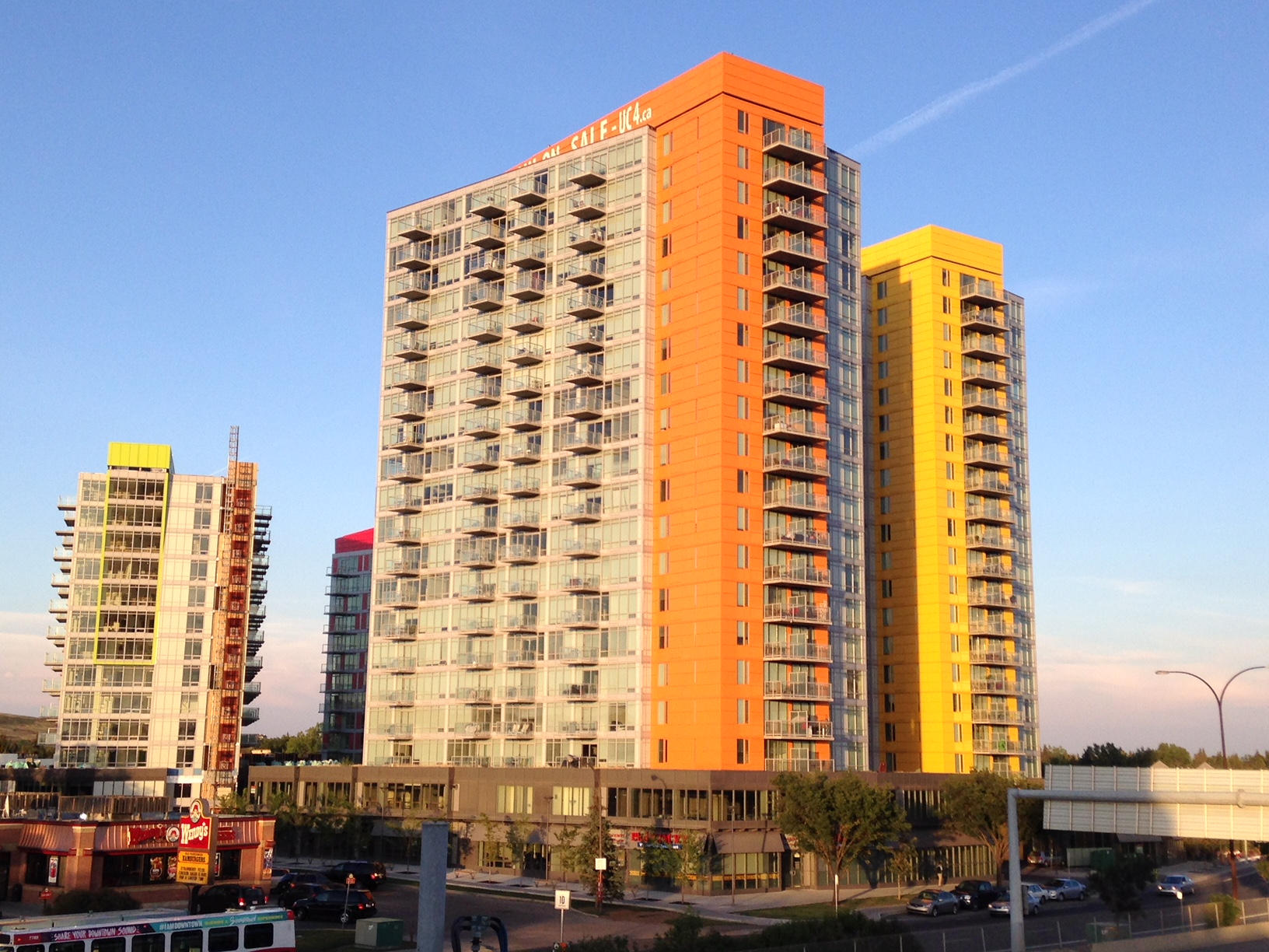 The four colourful condo towers at the Brentwood LRT near the Co-op grocery store, and within walking distance to the University of Calgary were opposed by neighbours.