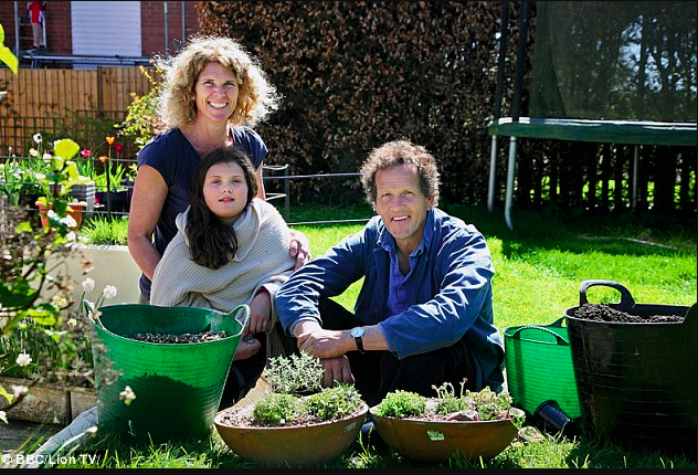 Monty Don with two novice gardeners helping them convert their backyard from a place to park their car into an oasis.