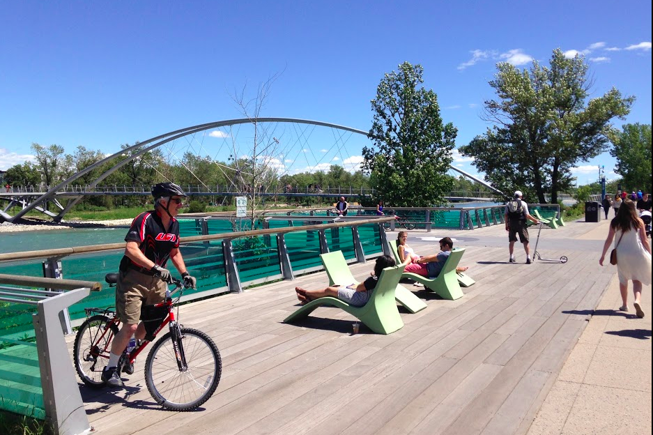 RiverWalk in East Village has lovely places to stop and enjoy the majestic Bow River on your way to St. Patrick Island Park via the King Bridge.