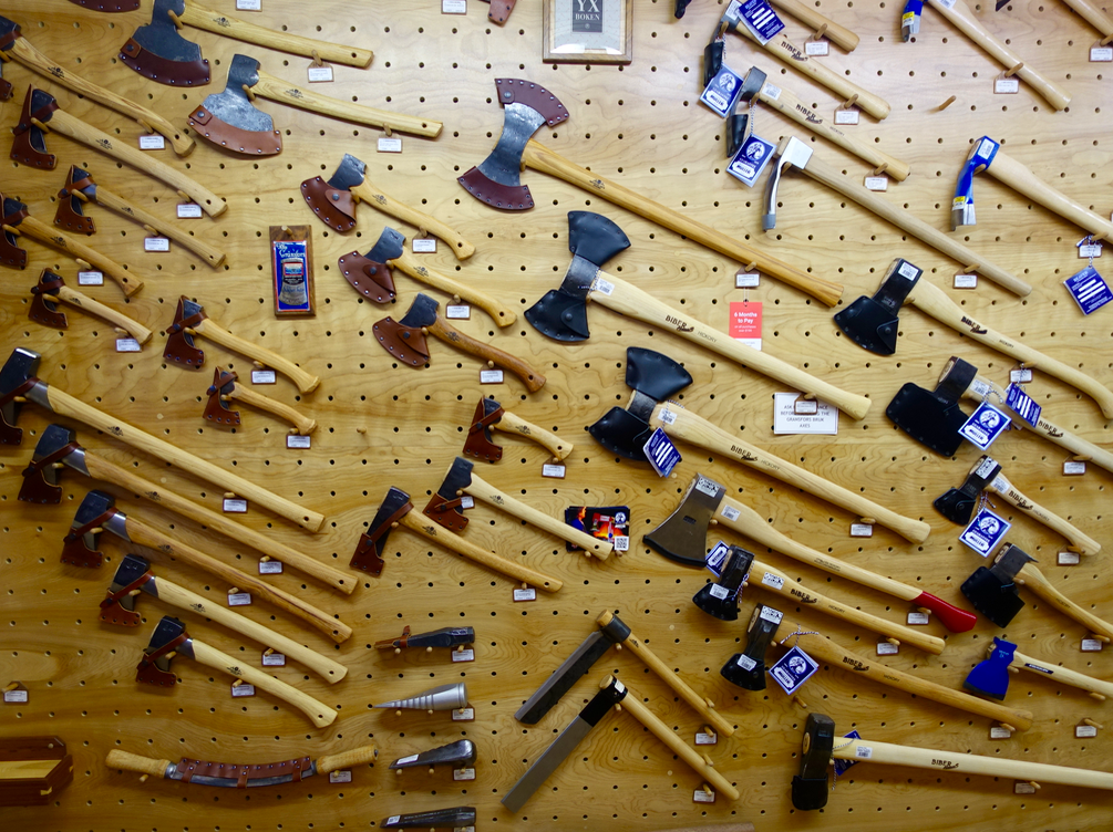 This wall of axes was just part of the fun of exploring the   Highland Woodworking   store at Highland and Virginia.  Think Lee Valley but bigger and totally focused on woodworking tools and material s.   It is a must see for any woodworker....