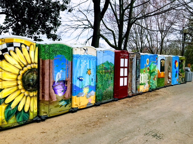 Aren't these folk art portable toilets at the outdoor science fair in Piedmont Park quirky?