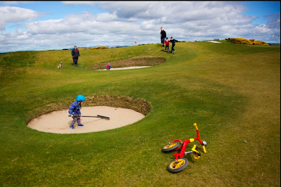 On Sundays The Old Course becomes a public park.  Families love to have a picnic and play on the course which has the best sand boxes.