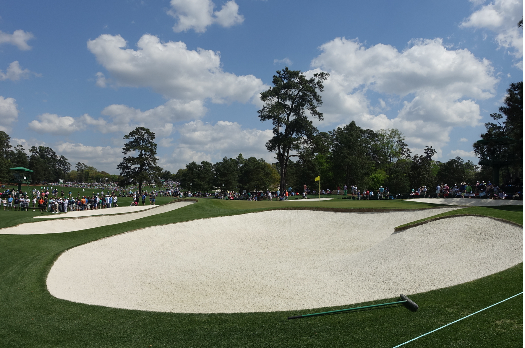 The greens are well guarded by huge bunkers.