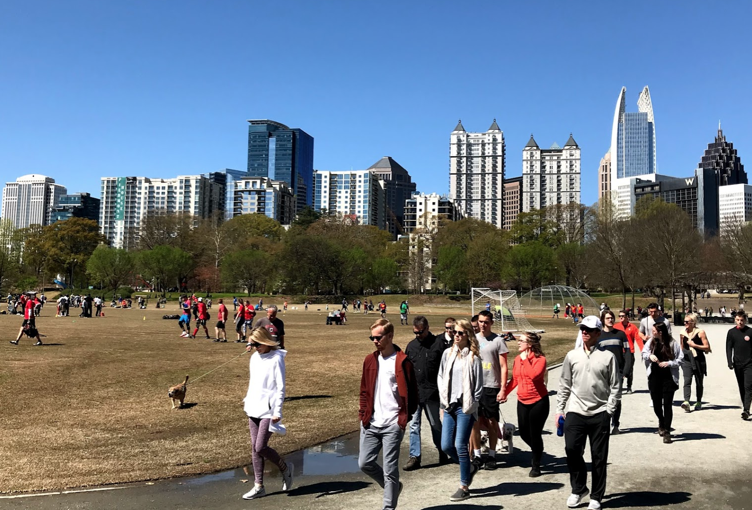 Piedmont Park has not only great pathways for strolling but also a huge area with well-use playing fields.