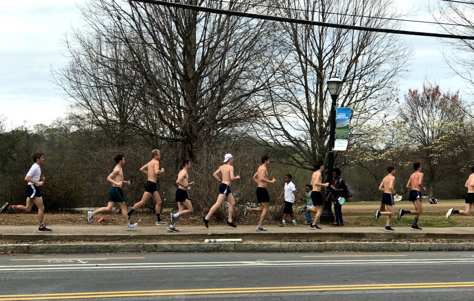 This was a scene one afternoon, on the sidewalk across from our Piedmont Airbnb at the edge of the park. It was a constant stream of joggers (not always topless) on weekends.