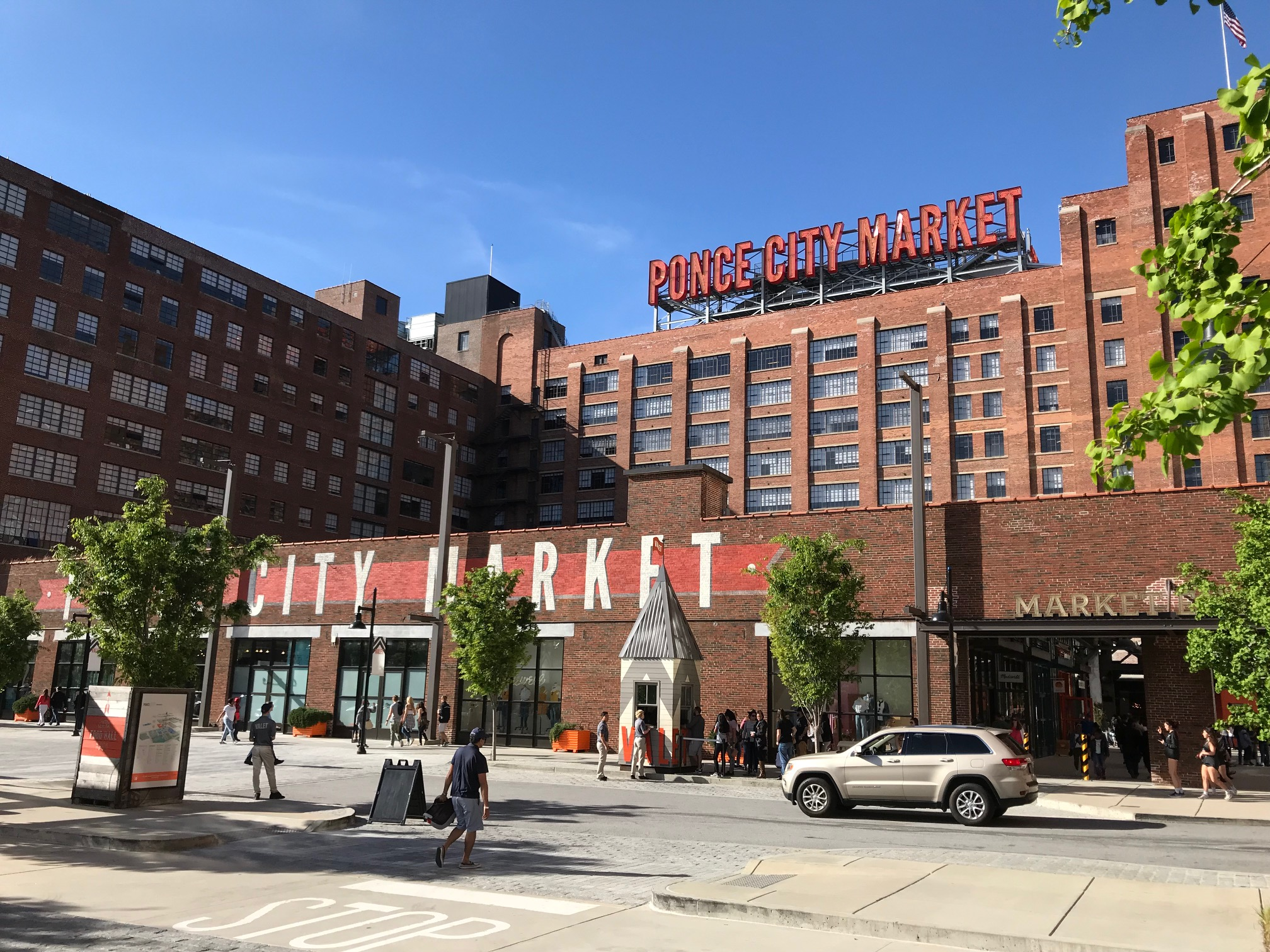 Ponce City Market is a massive Sears Roebuck & Co. retail store, warehouse and regional office.  Today it is home to restaurants and shops.  It is surrounded by new condo developments.