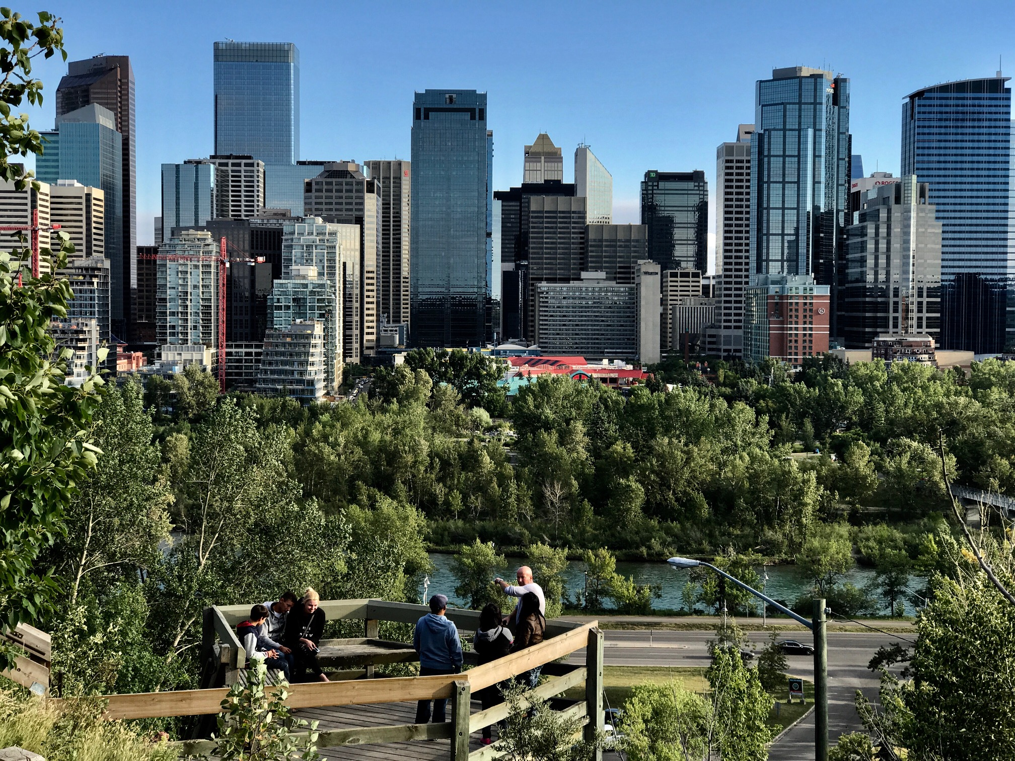 Downtown Calgary with Prince's Island Park in the foreground.