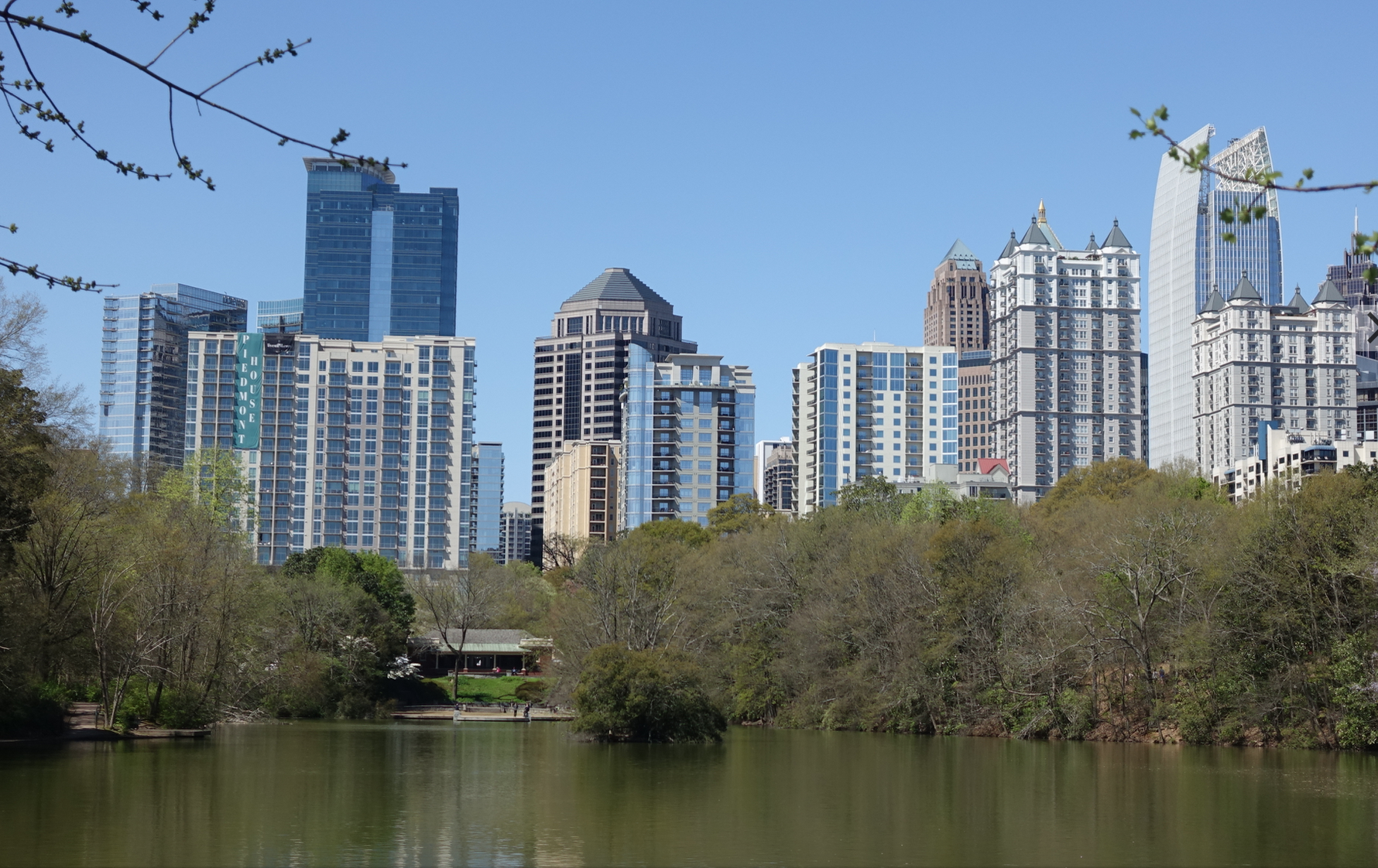 Looking across Piedmont Park's Lake Clara Meer to the midtown condos.