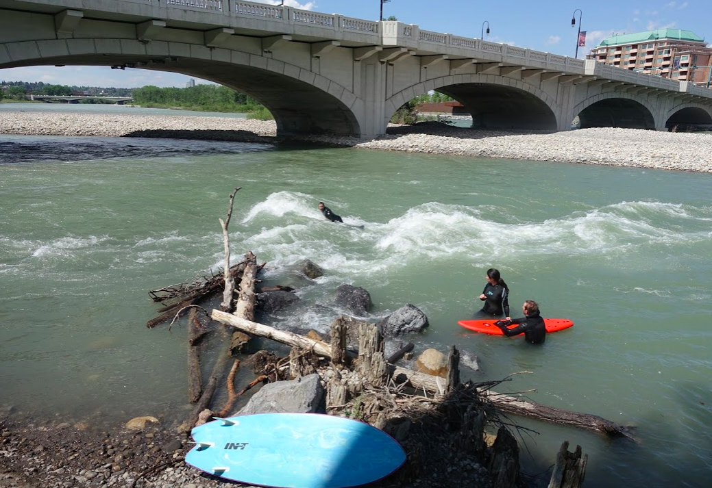 River surfing is become more and more popular on the Bow River.