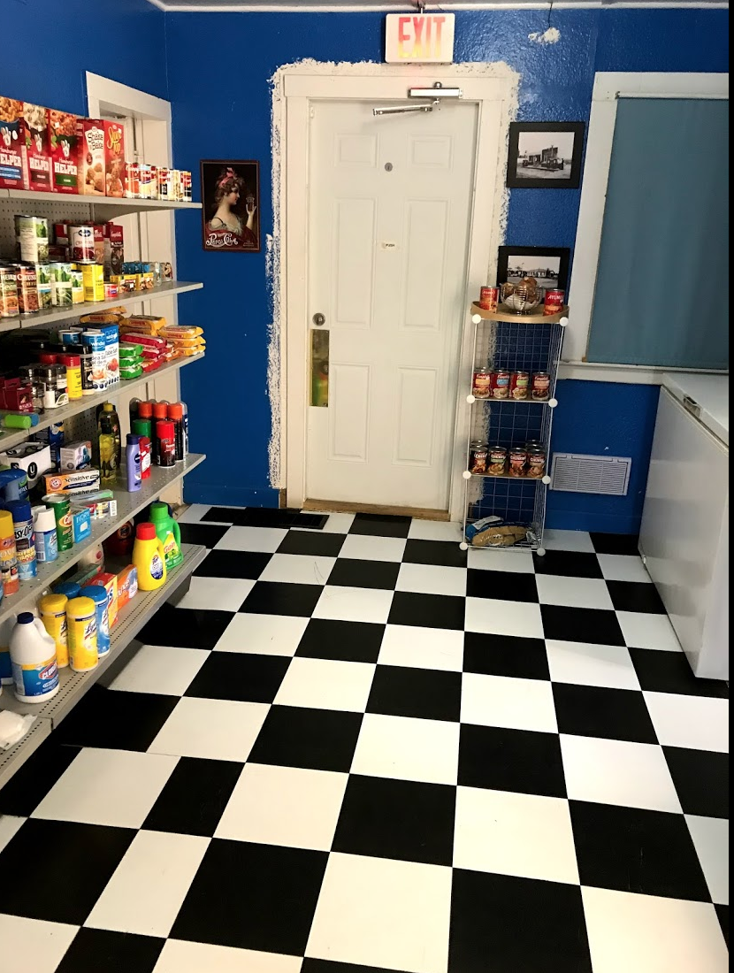 Recent renovations converted the living quarters at the back into store space.