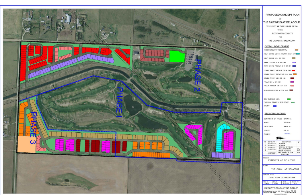 Concept plans for the proposed Fairways at Delacour residential development.