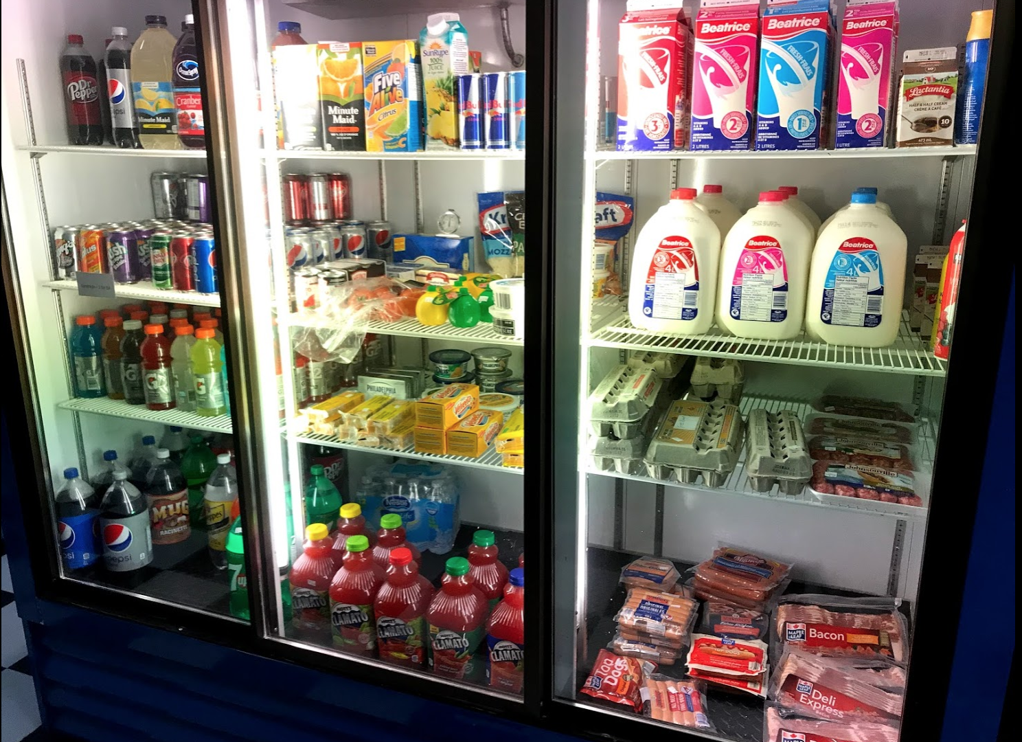 You can get the staples - milk, eggs, meat, juice and pop.
