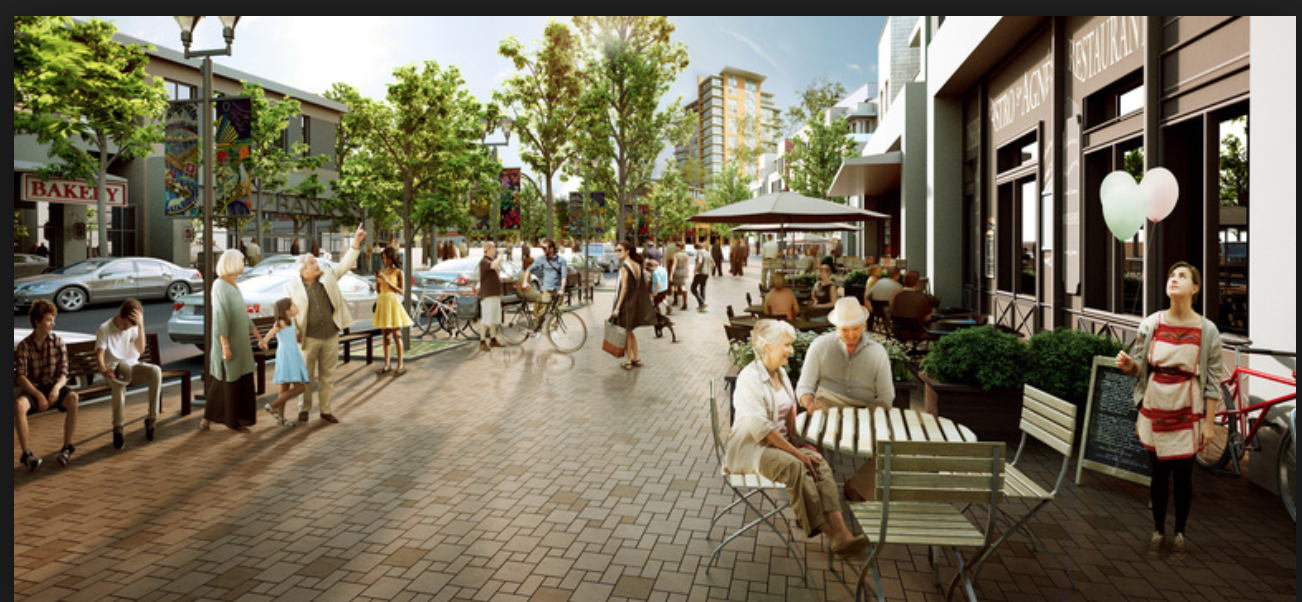 Early concept rendering of pedestrian streetscape.