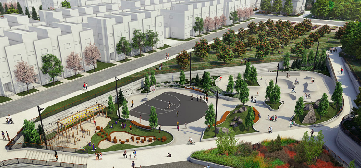 West District's skate park and basketball courts is part of Central Park.