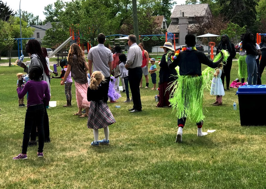 A Sunday morning church picnic at Grand Trunk Park attracts all ages and backgrounds.