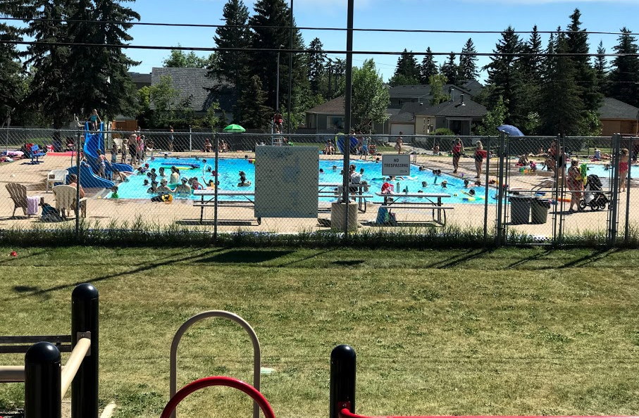 Our outdoor pool is a great gathering place in the summer.