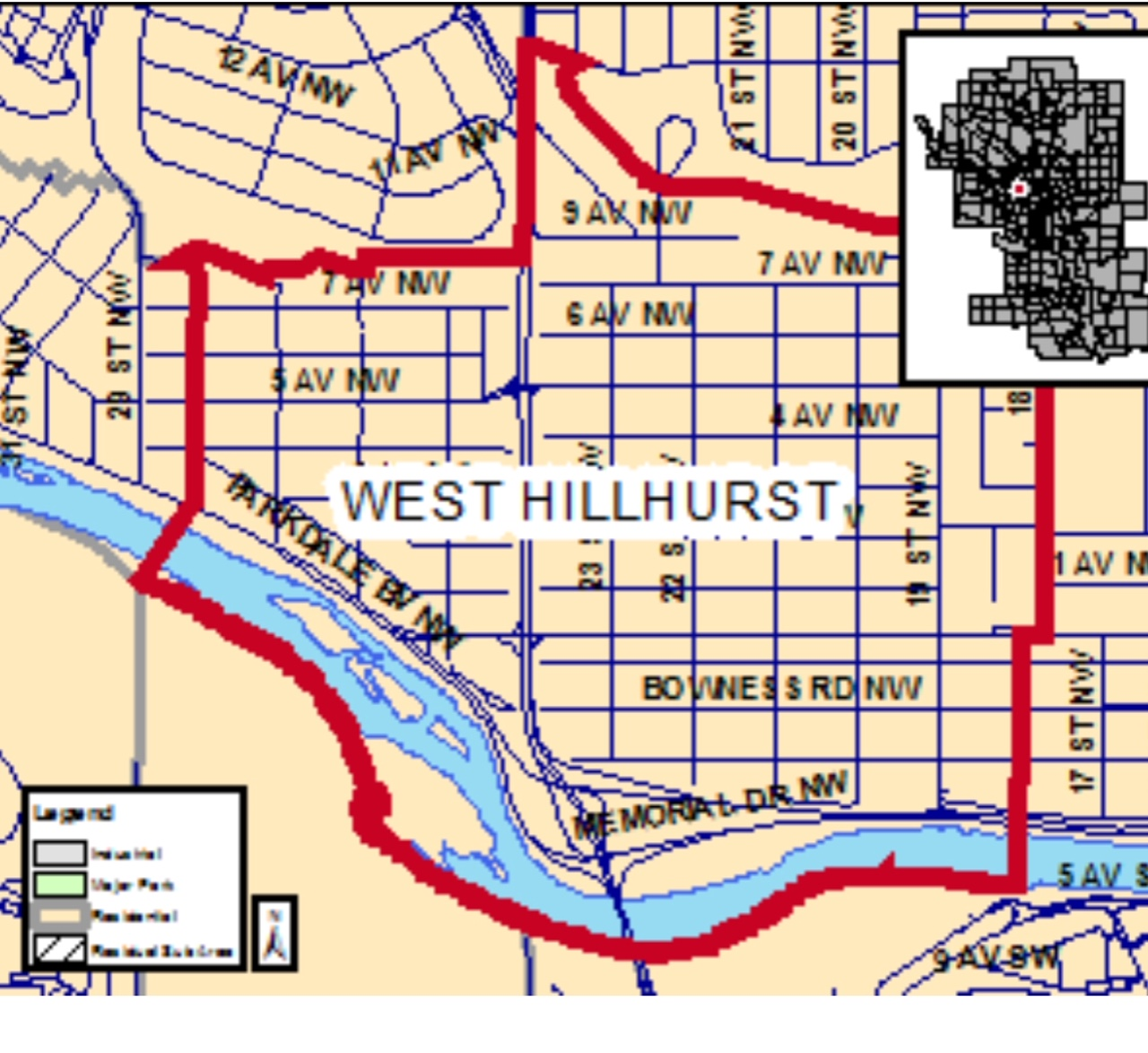West Hillhurst has strange boundaries. It would seem more logical for the boundary to extend to 29th St on the west and 14th Street on the east? Note the south boundary includes the southern shore of the Bow River, which means we have some great beaches and pathways.