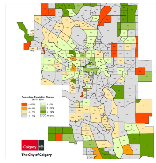 Recent Calgary population growth indicates that many of the communities near downtown are experiencing healthy population increases i.e. green areas.