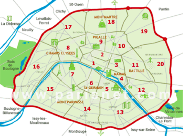 Interestingly, Paris is divided into 20 neighbourhoods, each with about 100,000 people.