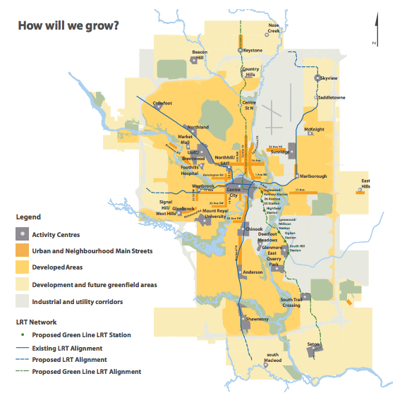 While Calgary like all Canadian cities is focused on trying to manage growth without sprawl it is very difficult due to not only demographic differences, but also do to job employment growth being primarily on the edge of the city.