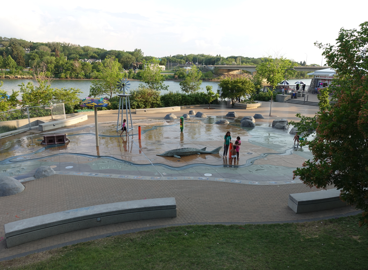 Splash park along the river.