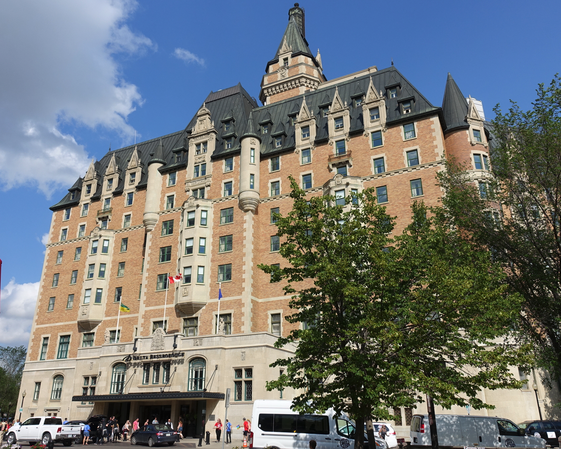 Bessborough Hotel, designed by Archibald and Schofield, opened in 1935 and was considered one of Canada's grand railway hotels.