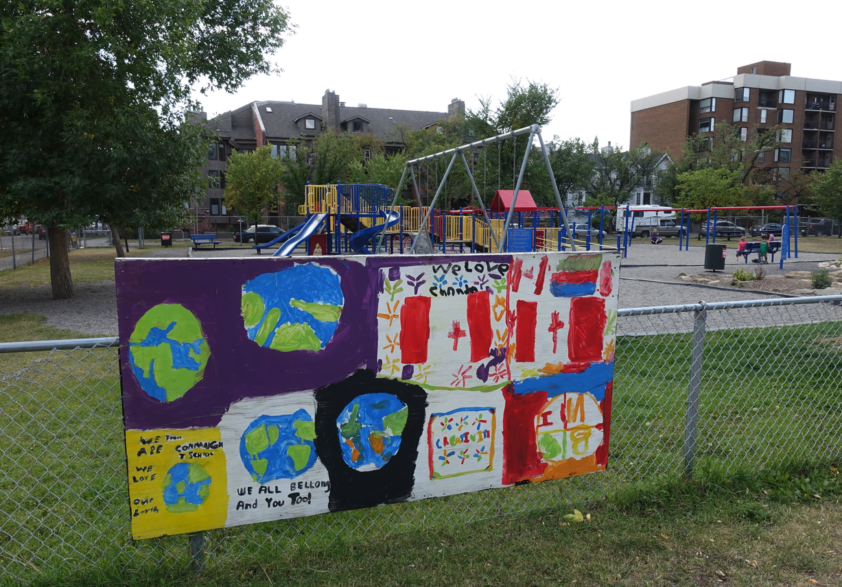 "I love the series of paintings along the fence of playground next to Connaught elementary school that speaks to issue of ""belonging."" They have aged well, and are perfect message for the Beltline one of Calgary's most diverse neighbourhoods, including many new Canadians."