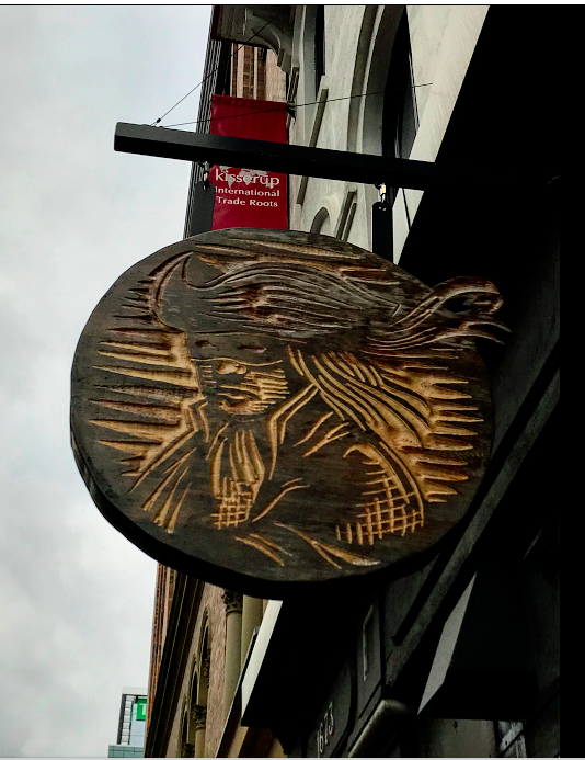 This Highwayman sign looked like a woodblock etching ready for inking and printing. The restaurant inside looked just as intriguing. Would make a great t-shirt.
