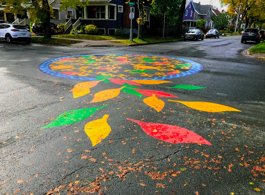 Loved this traffic circle artwork along a quiet residential street. Would like to see more of this in Calgary and other cities.
