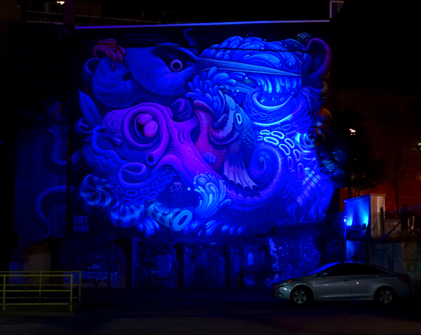 Loved how this mural literally glowed in the dark.