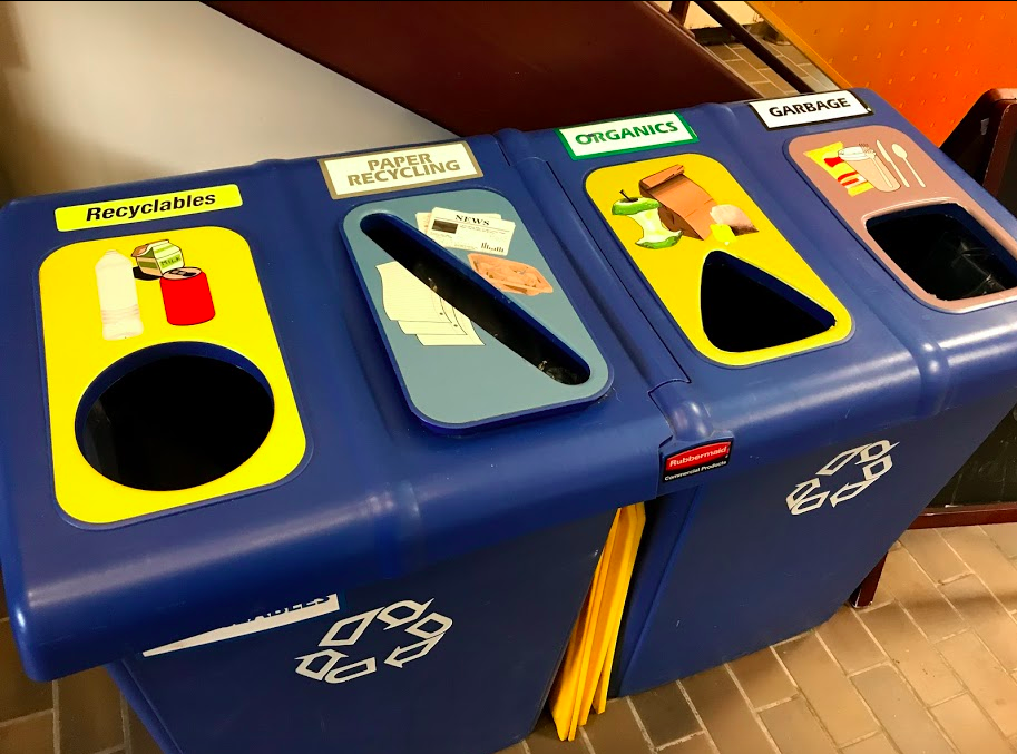 The recycling bins at St. Mary's University have a pop-art element to them.