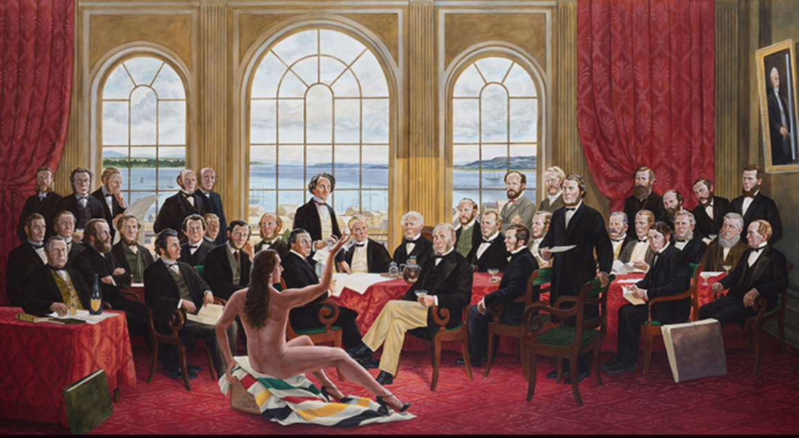"The Daddies, 2016, 60"" x 112"", acrylic on canvas, Kent Monkman is a play on Robert Harris' famous group portrait of the Fathers of Confederation. The nude in the foreground is Miss Chief Eagle Testickle, Monkman's alter ego."