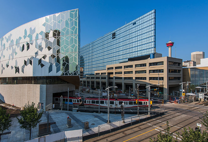 Calgary's new Central Library and '80s Municipal Building create a strange couple.