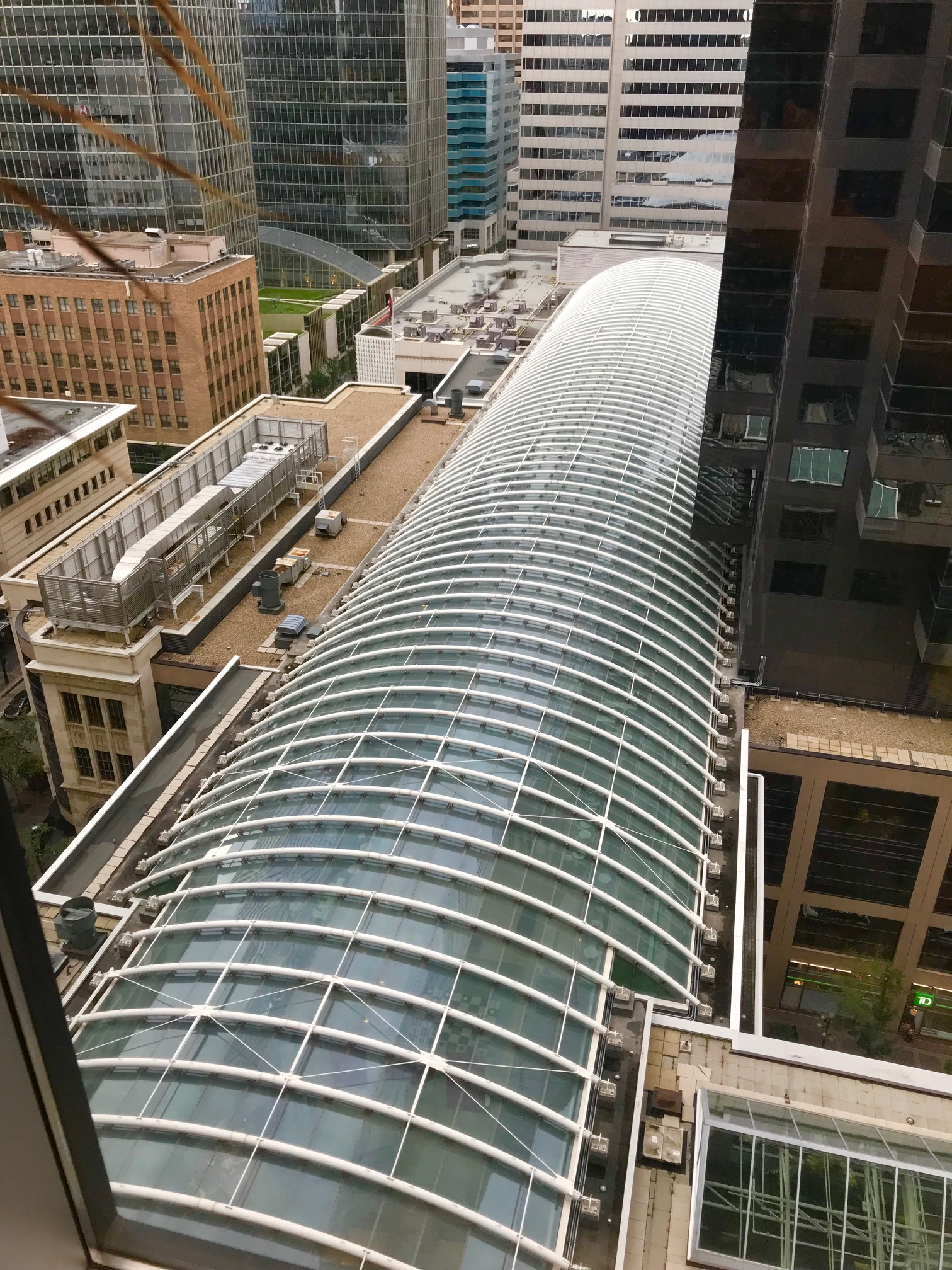 By chance I looked out the window of my financial advisor's office in downtown Calgary and saw this amazing view of the sky-light of The Core shopping centre. It is the longest point supported structural skylight in the world. Not sure exactly what that means, but it is impressive inside and out. Remember to always look out the window in 2019!