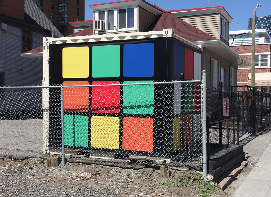 This huge rubric cube (sorry it isn't functional, that would be very cool) in Calgary's Beltline is a fun surprise to those driving and walking by.
