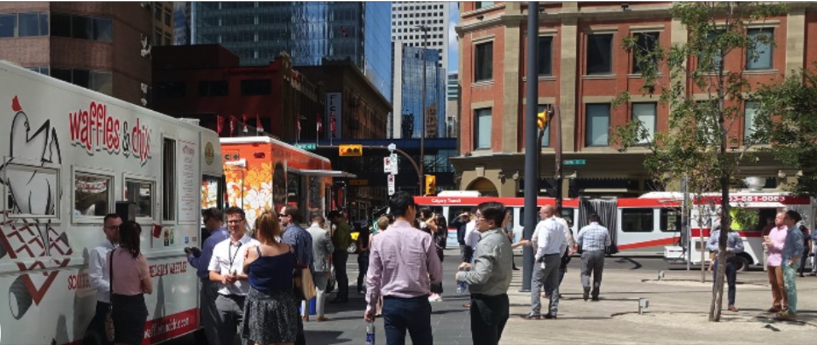 Lunch hour in downtown Calgary.