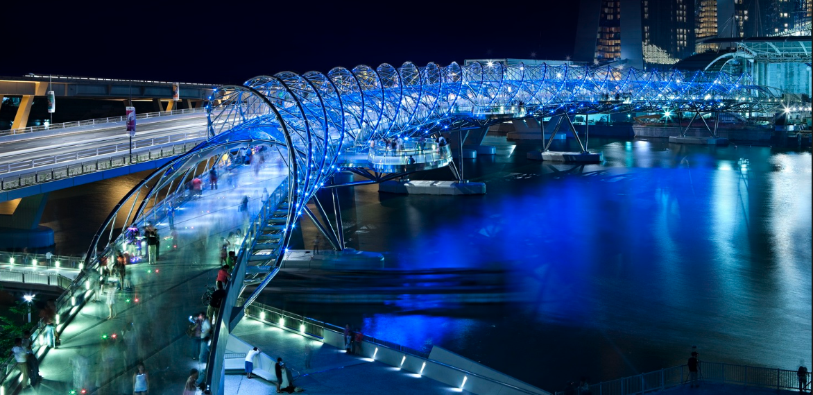 If you like pedestrian bridges, you will love Singapore; this is the Helix Bridge.