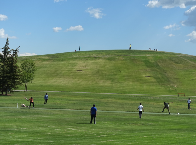 Cricket match? practice? Saturday morning at Prairie Winds park.
