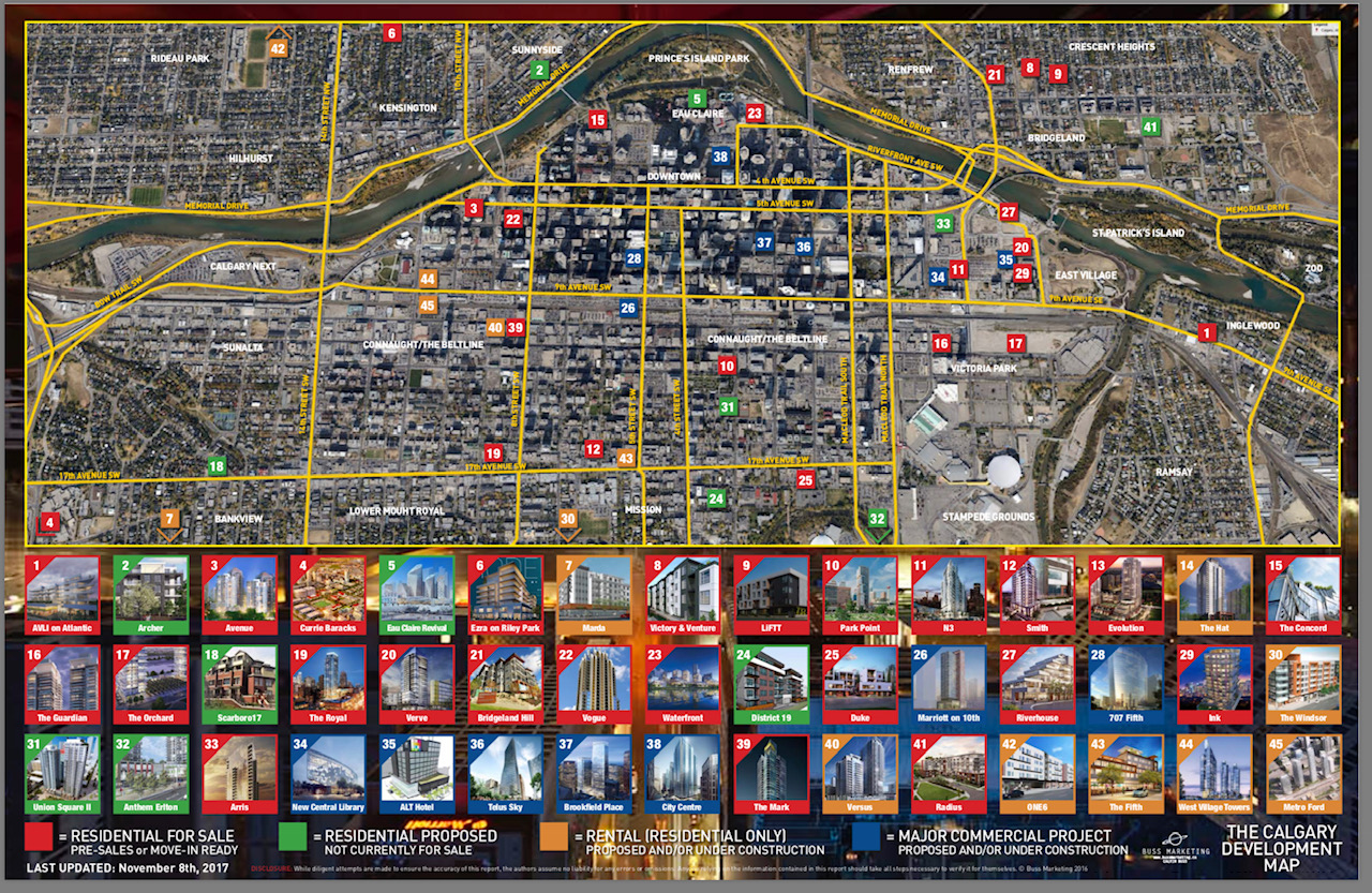 Buss Marketing's map of Calgary's current residential developments