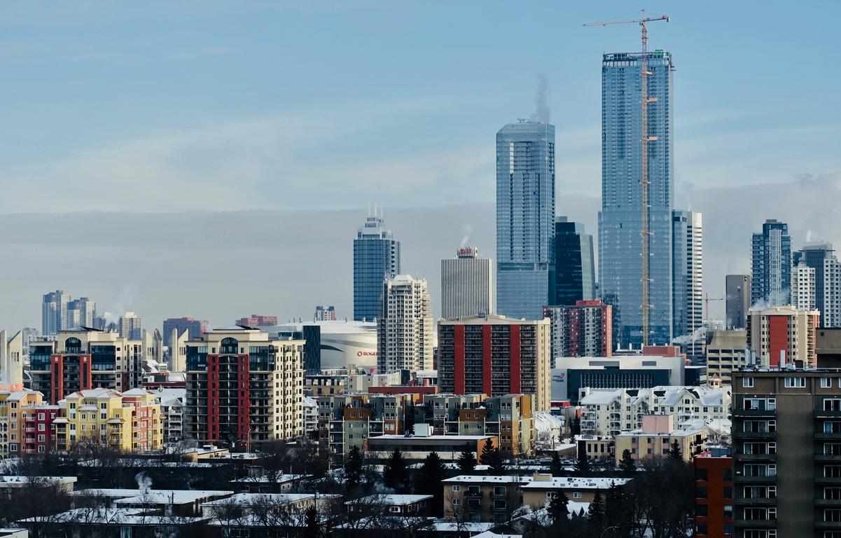 Edmonton's Ice District skyline January 2019.