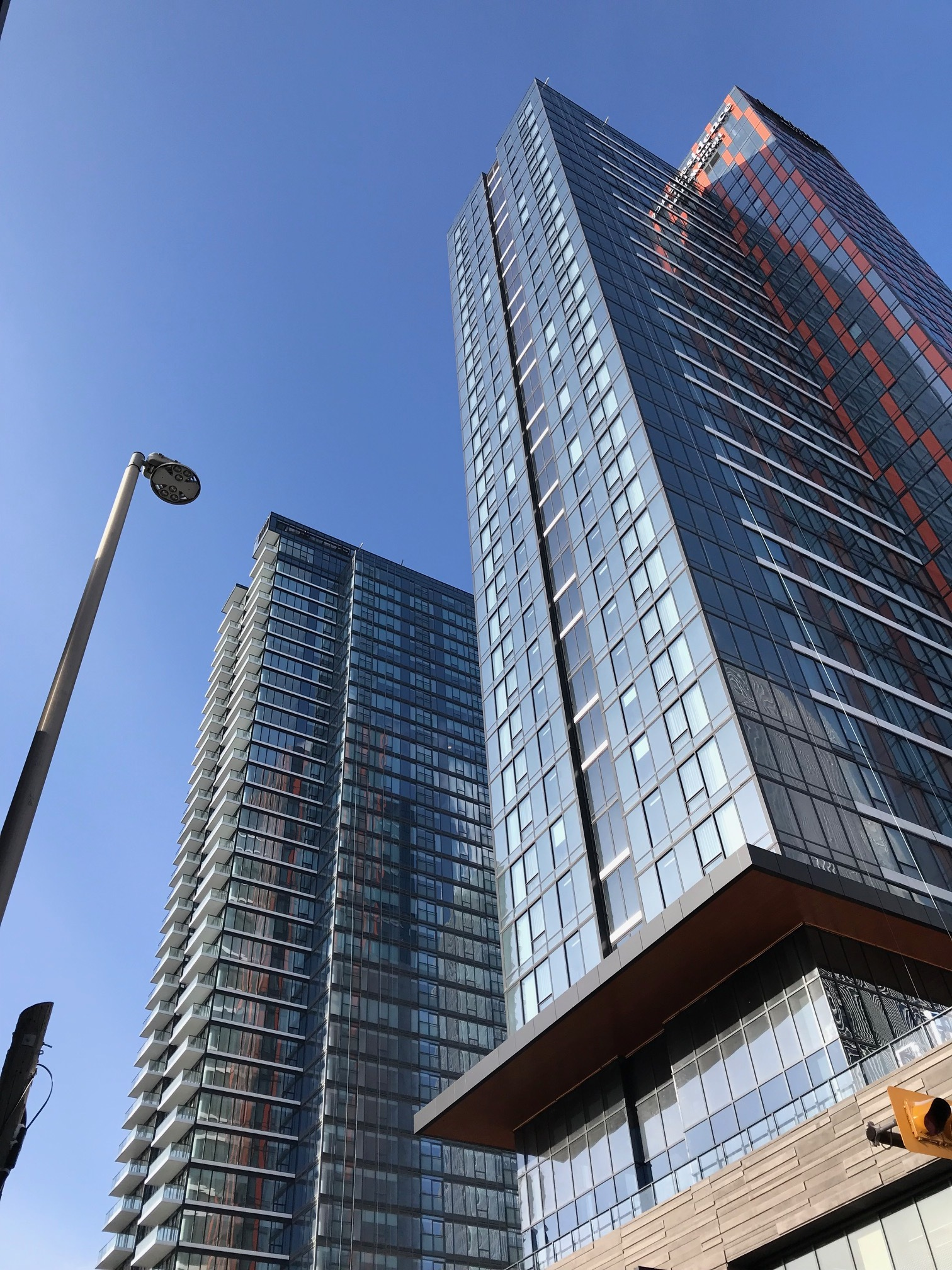Calgary's new Marriott Residence Inn and SODO residential towers on 10th Ave at 5th Street SW.