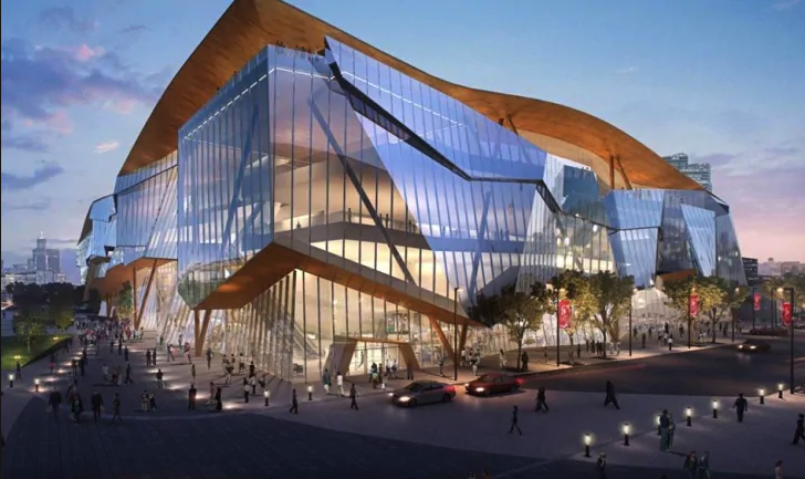 Conceptual image of Calgary's new BMO convention centre which is current at the request for proposals stage.