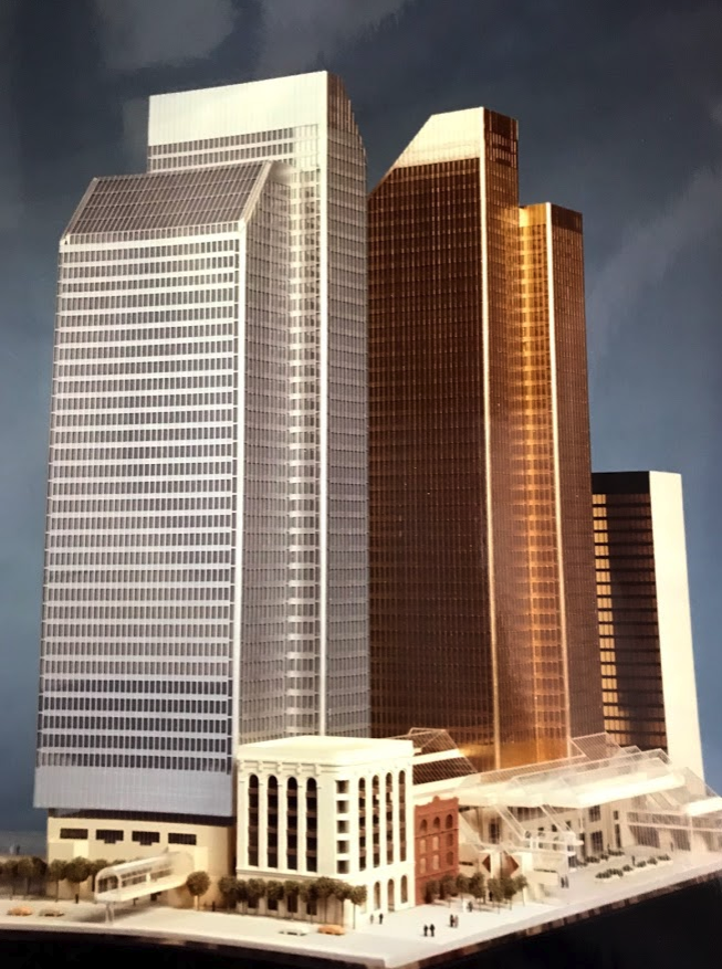 The original plans for Bankers Hall development with CIBC and RBC towers.