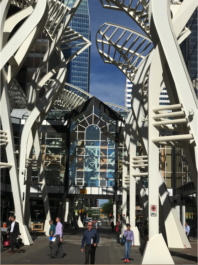The white trees on Stephen Avenue create a unique sense of place. The larger white boots at the based were not part of the original design. The City of Calgary asked for them to added as a protection from being hit by cars.