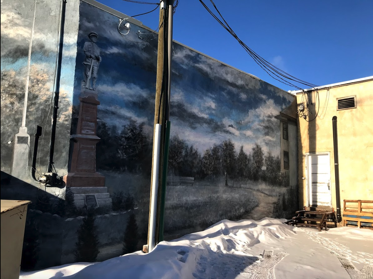 Lacombe's mural program is unique in that all of the murals are hidden in the downtown's back lanes, rather than on side walls building that can be seen from the main street sidewalks.