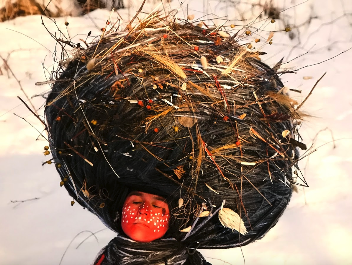 """Meryl McMaster's """"Dream Catcher"""" welcomes you to her provocative exhibition """"Confluence"""" one of several worth seeing exhibitions on at Calgary's Glenbow Museum."""