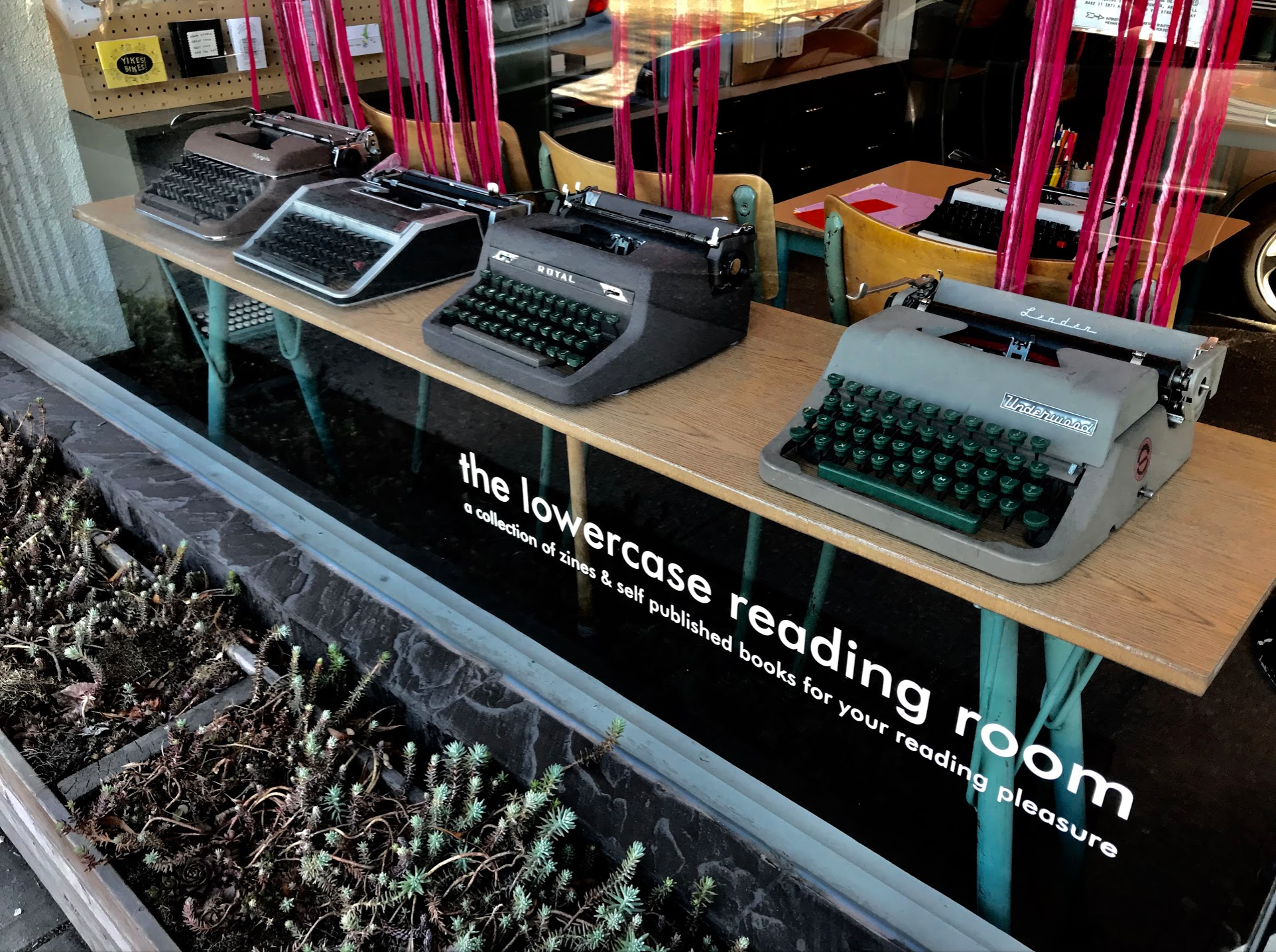 I counted 40+ typewriters at The Regional Assembly of Text stationary and card shop. They actually have a free night when they let people use the typewriters to create their own prose. I have added it to my calendar.