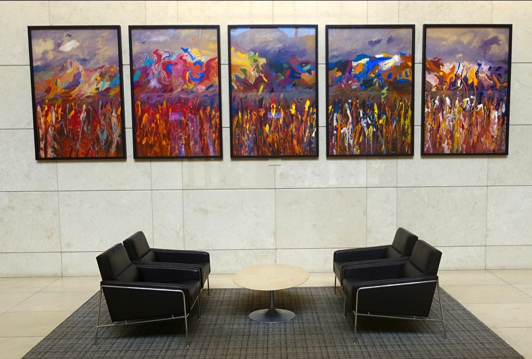 Jack Shadbolt painting in the lobby of Eighth Avenue Place office tower is a great place to sit. There is a coffee shop right there.